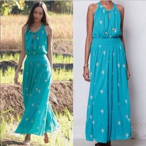 Anthropologie Floreat Blue Skyscape Maxi Dress 12